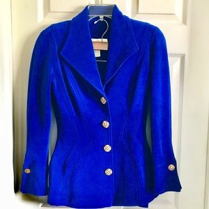 Lillie Rubin cobalt blue thick travel stretch suit